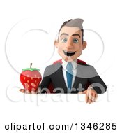 Clipart Of A 3d Super White Businessman Holding A Strawberry Over A Sign Royalty Free Illustration