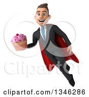 Clipart Of A 3d Super White Businessman Holding A Pink Frosted Cupcake And Flying Royalty Free Illustration
