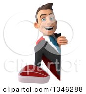 Clipart Of A 3d Super White Businessman Holding A Beef Steak Around A Sign Royalty Free Illustration
