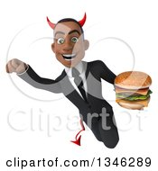Clipart Of A 3d Young Black Devil Businessman Holding A Double Cheeseburger And Flying Royalty Free Illustration