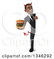 Clipart Of A 3d Full Length Young Black Devil Businessman Holding A Double Cheeseburger And Looking Around A Sign Royalty Free Illustration