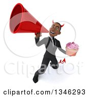 Clipart Of A 3d Young Black Devil Businessman Holding A Pink Frosted Cupcake And Announcing Upwards With A Megaphone Royalty Free Illustration