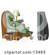 Lazy Dino Drinking A Beer And Holding A Remote Control While Sitting In A Lazy Chair And Watching A Big Projection TV Clipart Illustration by djart