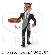 Clipart Of A 3d Young Black Devil Businessman Holding A Pizza And Walking Royalty Free Illustration