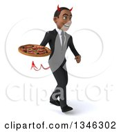 Clipart Of A 3d Young Black Devil Businessman Holding A Pizza And Walking Slightly To The Right Royalty Free Illustration