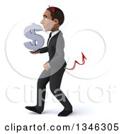 Clipart Of A 3d Young Black Devil Businessman Holding A Dollar Currency Symbol And Walking To The Left Royalty Free Illustration