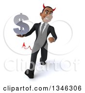 Clipart Of A 3d Young Black Devil Businessman Holding A Dollar Currency Symbol And Speed Walking Royalty Free Illustration