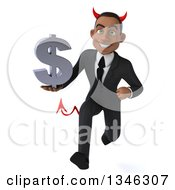 Clipart Of A 3d Young Black Devil Businessman Holding A Dollar Currency Symbol And Sprinting Royalty Free Illustration