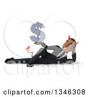 Clipart Of A 3d Young Black Devil Businessman Holding A Dollar Currency Symbol And Resting On His Side Royalty Free Illustration
