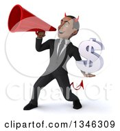 Clipart Of A 3d Young Black Devil Businessman Holding A Dollar Currency Symbol And Using A Megaphone Royalty Free Illustration