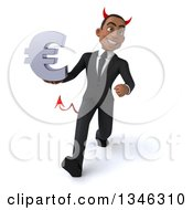 Clipart Of A 3d Young Black Devil Businessman Holding A Euro Currency Symbol And Speed Walking Royalty Free Illustration
