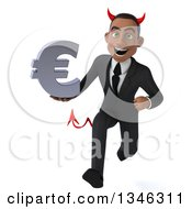 Clipart Of A 3d Young Black Devil Businessman Holding A Euro Currency Symbol And Sprinting Royalty Free Illustration