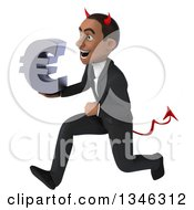 Clipart Of A 3d Young Black Devil Businessman Holding A Euro Currency Symbol And Sprinting To The Left Royalty Free Illustration