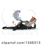 Clipart Of A 3d Young Black Devil Businessman Holding A Euro Currency Symbol And Resting On His Side Royalty Free Illustration