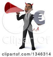 Clipart Of A 3d Young Black Devil Businessman Holding A Euro Currency Symbol And Announcing With A Megaphone Royalty Free Illustration