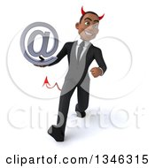 Clipart Of A 3d Young Black Devil Businessman Holding An Email Arobase At Symbol And Speed Walking Royalty Free Illustration