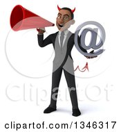 Clipart Of A 3d Young Black Devil Businessman Holding An Email Arobase At Symbol And Announcing With A Megaphone Royalty Free Illustration