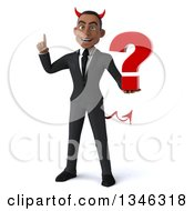 Clipart Of A 3d Young Black Devil Businessman Holding Up A Finger And A Question Mark Royalty Free Illustration