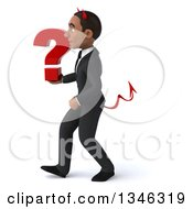 Clipart Of A 3d Young Black Devil Businessman Holding A Question Mark And Walking To The Left Royalty Free Illustration