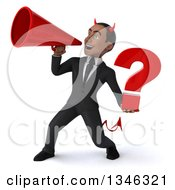 Clipart Of A 3d Young Black Devil Businessman Holding A Question Mark And Announcing To The Left With A Megaphone Royalty Free Illustration