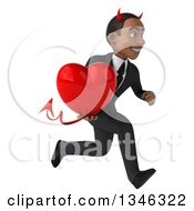Clipart Of A 3d Young Black Devil Businessman Holding A Heart And Sprinting To The Right Royalty Free Illustration