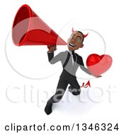 Clipart Of A 3d Young Black Devil Businessman Holding A Heart And Announcing With A Megaphone Royalty Free Illustration