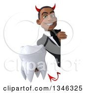 Clipart Of A 3d Young Black Devil Businessman Holding A Tooth Around A Sign Royalty Free Illustration