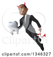 Clipart Of A 3d Young Black Devil Businessman Holding A Tooth And Flying Royalty Free Illustration