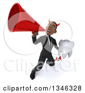 Clipart Of A 3d Young Black Devil Businessman Holding A Tooth And Announcing Upwards With A Megaphone Royalty Free Illustration