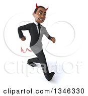 Clipart Of A 3d Young Black Devil Businessman Speed Walking Slightly To The Right Royalty Free Illustration