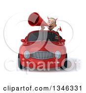 Clipart Of A 3d Young White Devil Businessman Announcing With A Megaphone And Driving A Red Convertible Car Royalty Free Illustration