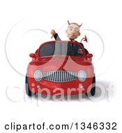 Clipart Of A 3d Young White Devil Businessman Giving A Thumb Down And Driving A Red Convertible Car Royalty Free Illustration