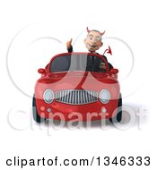 Clipart Of A 3d Young White Devil Businessman Giving A Thumb Up And Driving A Red Convertible Car Royalty Free Illustration