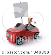 Clipart Of A 3d Young White Devil Businessman Holding A Blank Sign And Driving A Red Convertible Car Slightly To The Left Royalty Free Illustration