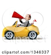 Clipart Of A 3d Young White Devil Businessman Announcing With A Megaphone And Driving A Yellow Convertible Car To The Left Royalty Free Illustration
