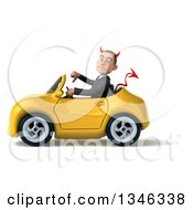 Clipart Of A 3d Young White Devil Businessman Giving A Thumb Down And Driving A Yellow Convertible Car To The Left Royalty Free Illustration