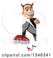 Clipart Of A 3d Young White Devil Businessman Holding A Beef Steak Around A Sign Royalty Free Illustration