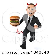Clipart Of A 3d Young White Devil Businessman Holding A Double Cheeseburger And Sprinting Royalty Free Illustration