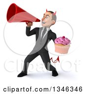 Clipart Of A 3d Young White Devil Businessman Holding A Pink Frosted Cupcake And Announcing To The Left With A Megaphone Royalty Free Illustration