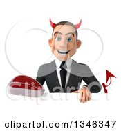 Clipart Of A 3d Young White Devil Businessman Holding A Beef Steak Over A Sign Royalty Free Illustration
