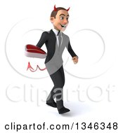 Clipart Of A 3d Young White Devil Businessman Holding A Beef Steak And Walking Slightly To The Right Royalty Free Illustration