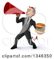 Clipart Of A 3d Young White Devil Businessman Holding A Double Cheeseburger And Announcing To The Left With A Megaphone Royalty Free Illustration