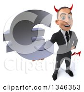 Clipart Of A 3d Young White Devil Businessman Holding Up A Euro Currency Symbol Royalty Free Illustration