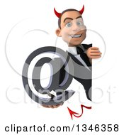 Clipart Of A 3d Young White Devil Businessman Holding An Email Arobase At Symbol Around A Sign Royalty Free Illustration