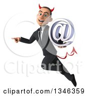 Clipart Of A 3d Young White Devil Businessman Holding An Email Arobase At Symbol Flying And Pointing Royalty Free Illustration