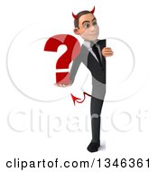 Clipart Of A 3d Full Length Young White Devil Businessman Holding A Question Mark And Looking Around A Sign Royalty Free Illustration
