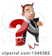 Clipart Of A 3d Young White Devil Businessman Holding A Question Mark And Looking Around A Sign Royalty Free Illustration