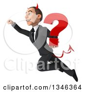 Clipart Of A 3d Young White Devil Businessman Holding A Question Mark And Flying Up To The Left Royalty Free Illustration