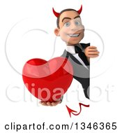 Clipart Of A 3d Young White Devil Businessman Holding A Heart Around A Sign Royalty Free Illustration