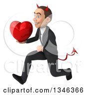 Clipart Of A 3d Young White Devil Businessman Holding A Heart And Sprinting To The Left Royalty Free Illustration